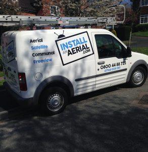 installanaerial.com. install an aerial logo white van